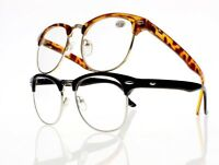 Retro Oversized Square Frame Horned Half Rim Nerd Geek Reading Glasses +1.0~+4.0