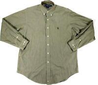 Ralph Lauren Mens 16 Long Sleeve Button Down Cotton Yarmouth Shirt Plaid Green