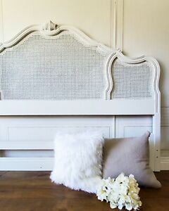 Vintage French Provincial Louis Style White Cane Ornate King Headboard