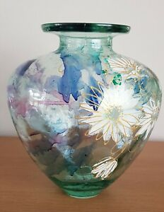 Large Ornate Glass Vase - Flower Decoration- Heavy - Very Decorative