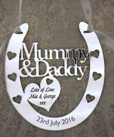 Personalised Mummy & Daddy Lucky Wedding Horseshoe Anniversary FREE GIFT BAG