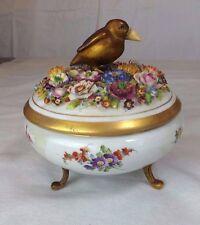 ANTIQUE DRESDEN  Schierholz, Plaue-On-Havel Footed Trinket Box w Brass Bird