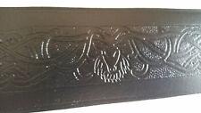 "Glen Esk Kilt Belt Black Leather with Embossed Stag Head 34"""