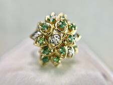 Vintage 10k Yellow Gold Natural Round Green Emerald Round Diamond Cocktail Ring