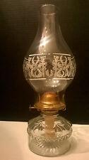 New listing Vintage Clear Glass Oil Lamp and Chimney, Eagle Brand Burner & Base, Kerosene