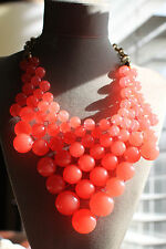 KATE SPADE RARE DOTZ BIB HUGE SPHERE NECKLACE TRANSLUCENT CORAL PEARLS MELON