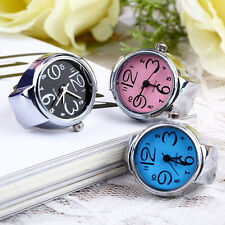 Creative Fashion Lady Girl Steel Round Elastic Quartz Finger Ring Watch Welcome