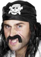 NEW Pirate Black Skull Bandana - Swashbuckler Caribbean Fancy Dress Accessory