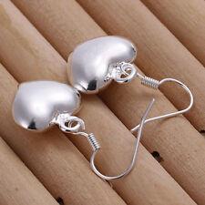 18K White Gold Filled Love Heart Drop Dangle Hook Pierced  Earrings #E117