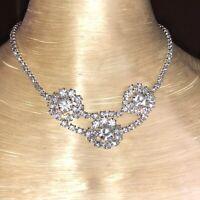 Vtg Art Deco Rhodium Crystal Rhinestone Necklace Chaton Flower Choker