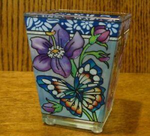 Amia Studios Votive #42587 SUMMER WONDERLUST Butterflies & Flowers Hand Painted