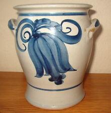 Keramik Töpferware Steinzeug Gärtopf Vorratstopf grau blau 2l