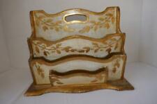 Vintage Italian Gold Florentine Wood Letter Desk Top Organizer Acorns & Leaves