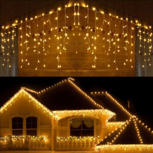LED Icicle Curtain Fairy String Lights Waterproof Christmas Xmas Party Outdoor