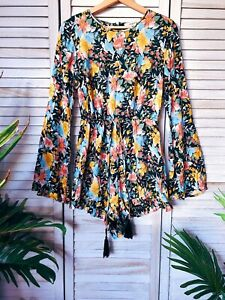 Auguste Floral Playsuit, 100% Rayon Jumpsuit, Size 10, Boho, Hippie Style