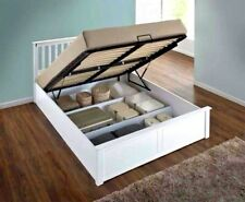 LAVISH NEW SOLID WOODEN OTTOMAN STORAGE KING SIZE 5'FT BED FRAME IN WHITE FINISH
