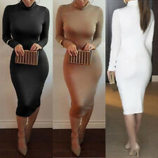 Sexy Women Turtle Neck Long Sleeve Bodycon Evening Party Midi Cocktail Dress