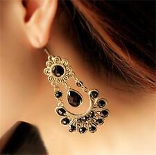 Retro Women Vintage Black Crystal Flower Drop Dangle Chandelier Hook Earrings