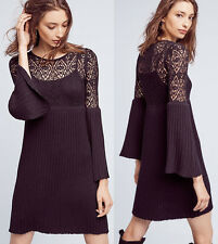 ANTHROPOLOGIE NWT Floreat Bell-Sleeve Sweater Dress Black Sz Small Petite $148