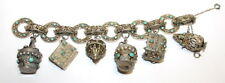Antique Middle Eastern Sterling Silver Turquoise Charm Heavy Bracelet