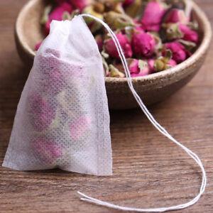 100x Reusable Tea Filter Bags Disposable Drawstring Paper Bag for Loose Leaf