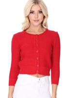 YEMAK Women's Knit Pattern Cropped Button-Down Casual Cardigan Sweater 3514PL