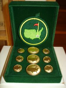 Scarce MASTERS Vintage AUGUSTA NATIONAL Golf Club BLAZER BUTTONS & PATCH In Box