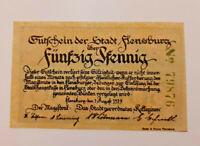 FLENSBURG NOTGELD 50 PFENNIG 1919 NOTGELDSCHEIN (10990)