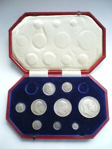 1902 EDWARD VII SILVER MATT PROOF 9 COIN SET - CROWN TO MAUNDY 1d WITH BOX.