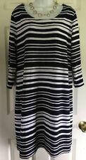 BANANA REPUBLIC Size XL Women's Dress, Striped, Stretch, 3/4 slvs, Black & White