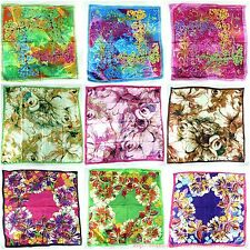 """lot of 5 large satin square scarf 39""""  wholesale shawl wrap cherry blossom"""