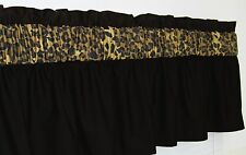 3 in Wide Pocket ~ Solid Black & LEOPARD CHEETAH Window Curtain Topper Valance