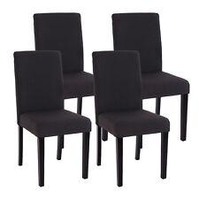 Lot de 4 chaises de séjour Littau, tissu noir gris, pieds foncés