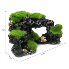 Resin Aquarium Mountain Coral Reef Rock Cave Stone Ornament Tank Fish Moss C7L2