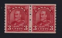 Canada Sc #183 (1931) 3c deep red King George V Arch Coil Pair Mint VF H