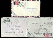 FRANCE MILITARY POST AIRMAIL to CANADA 1951-55 from INDOCHINA...3 COVERS