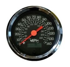 "Speedometer,programmable,3-3/8""/86mm,140 MPH,LED light,black/chrome, 043-SP-BC"