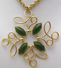 """24"""" Necklace w/Square or Cross Style Pendant & Green Jade Stones 12K Gold Filled"""