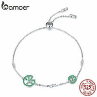BAMOER 100% Sterling Silver Bracelet Jumping frog With Zircon For Women Jewelry