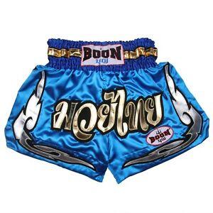 BOON SPORTS  MUAY THAI SHORTS MT37 BLUE LAI THAI (S,M,L,XL,XXL XXXL)  MMA K1