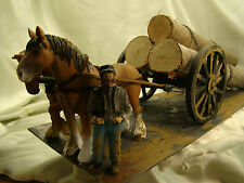 Horse Logging Wheel Car Diorama - custom weathered, handcrafted -lot 3- G  scale