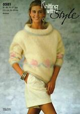 """ST0581 LADIES MOHAIR FLORAL BORDER SWEATER KNITTING PATTERN 32-38""""/81-97cm"""