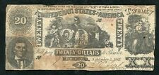 T-20 1861 $20 Twenty Dollars Csa Confederate States Of America Note