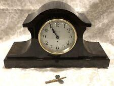 Antique Nice Seth Thomas Tambour Style Mantel Clock ~ Wood Grain Veneer ~ Works!