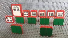 Lego Lot Of 1 Door / 12 Windows / Red / White / House / City Shutter