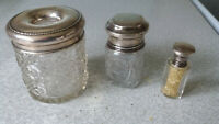 3 X ANTIQUE STERLING SILVER GLASS SCENT / PERFUME / PIN HOLDER BOTTLES -