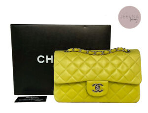 CHANEL Yellow/Green Neon Vintage Small Classic Double Flap Bag *Rare*