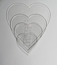 """1/8"""" Clear Acrylic Laser Cut Quilting Templates - Hearts 2-5 Inch"""