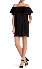 Love...Ady Womens sz M Swing Dress Ruffle Sleeve Black Off-the-Shoulder NEW $128