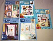 lot 5 WINNIE the POOH in CROSS STITCH pattern books for kid's babies
